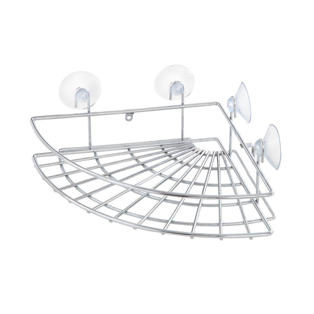 3 in. x 10.75 in. x 7.75 in. Suction Steel Shower Corner Basket in Chrome
