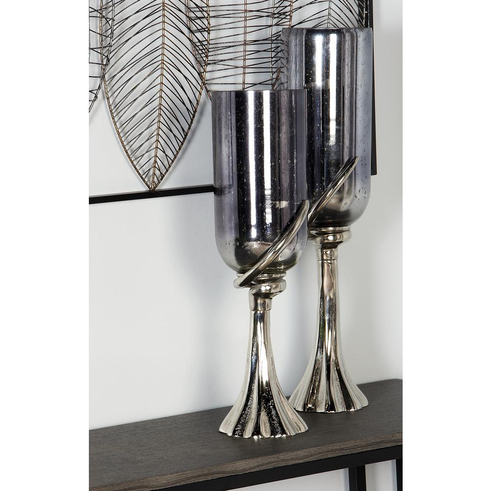 20 in. Black Glass Chalice Candle Holder with Silver Aluminum Base