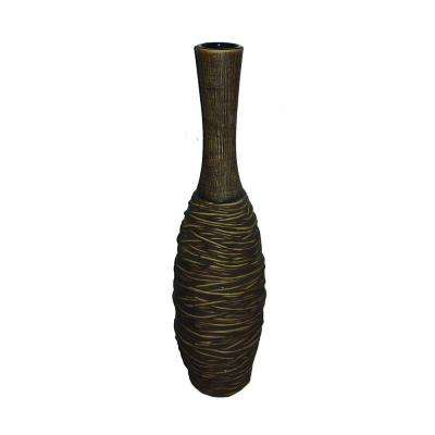18 in. H Ceramic Decorative Vase in Brown
