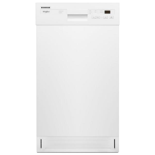 18 in. Front Control Dishwasher in White with Stainless Steel Tub, 50 dBA