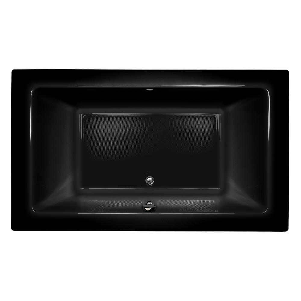 SIA 72 in. x 42 in. Acrylic Rectangular Drop-in Whirlpool Bathtub in Black