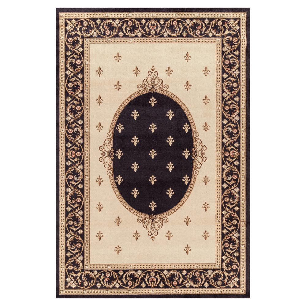 Jewel Fleur De Lys Medallion Black 7 ft. x 9 ft. Area Rug