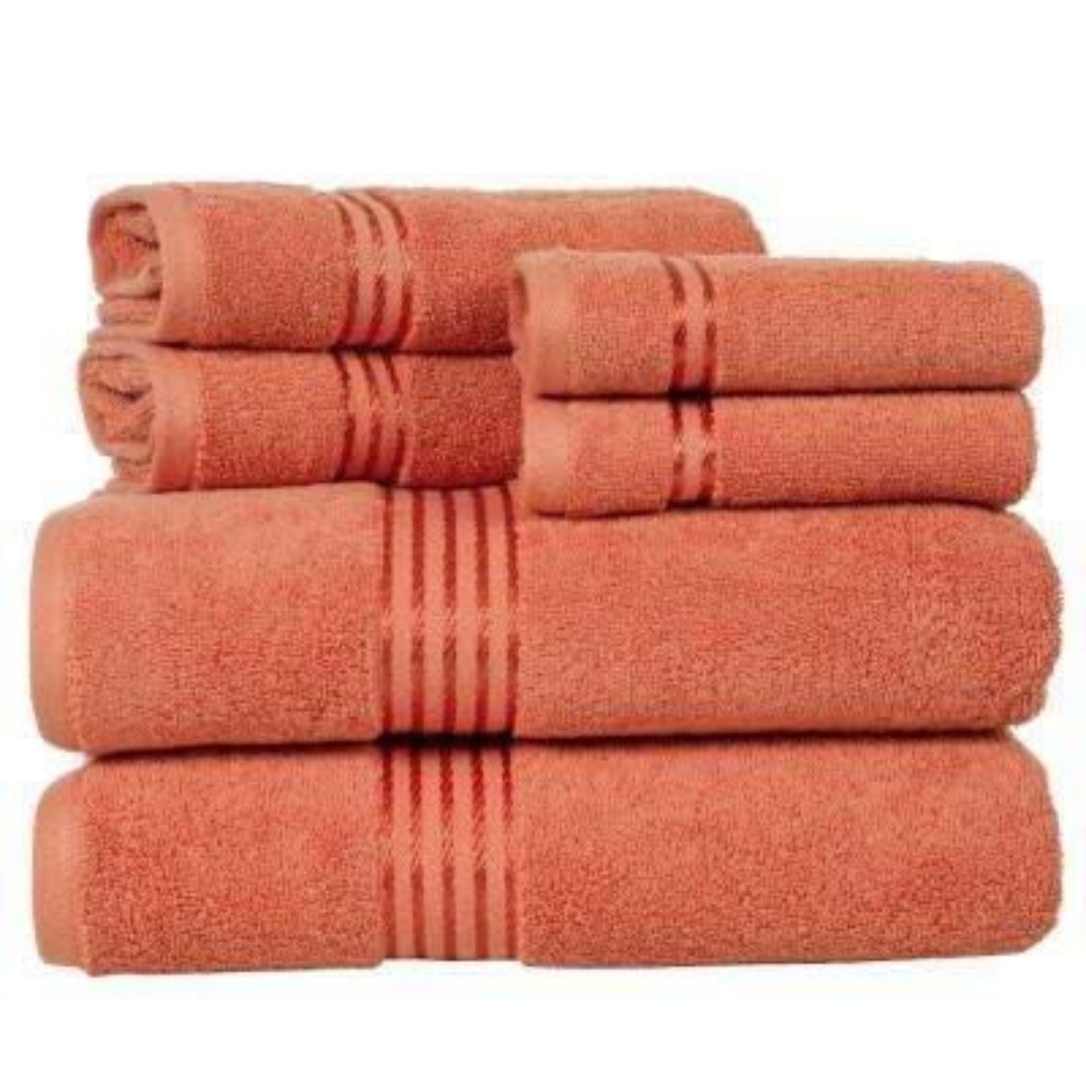 100 Egyptian Cotton Hotel Towel Set In Brick 6 Piece