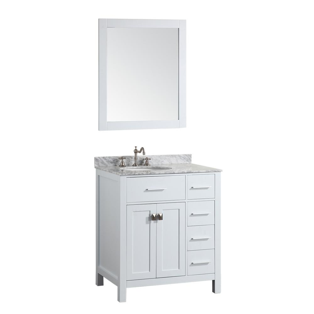 Bosconi Bosconi 30 in. W Single Bath Vanity in White with White Carrara Marble Vanity Top in White with White Basin and Mirror