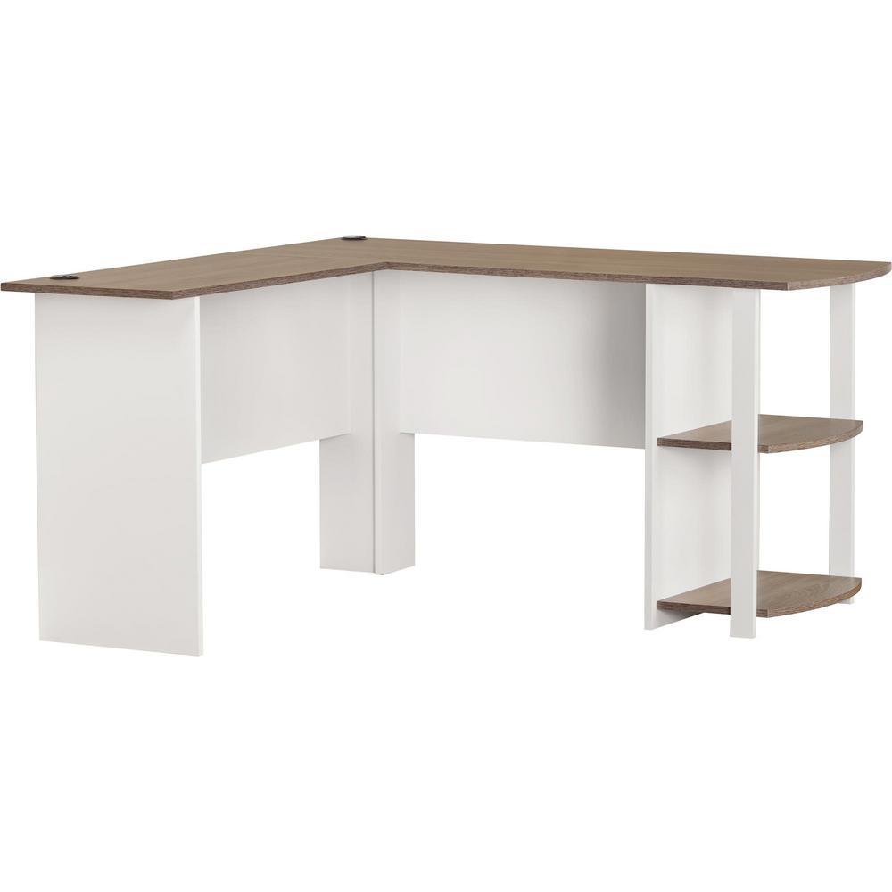 Quincy White Dakota L-Shaped Desk with Bookshelves