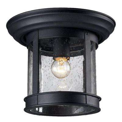 Lawerence 1-Light Black Lawrence Outdoor Flush Mount with Clear Seeded Glass Shade