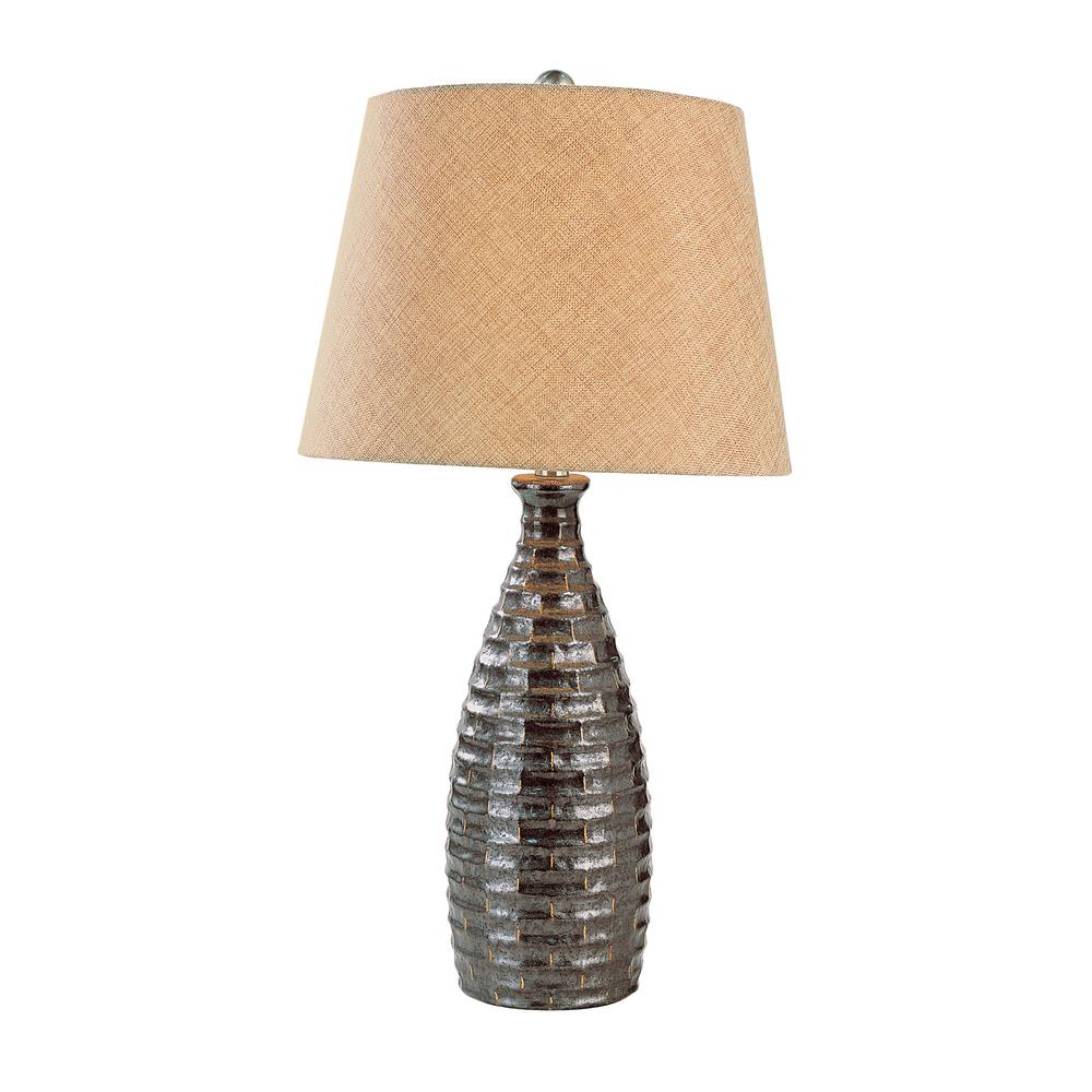 Bel Air Lighting 27 in. Rubbed Oil Bronze Table Lamp with Stamped Resin Base