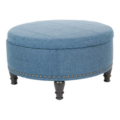 18 in. Augusta Light Blue Fabric Round Storage Ottoman with Tray Top