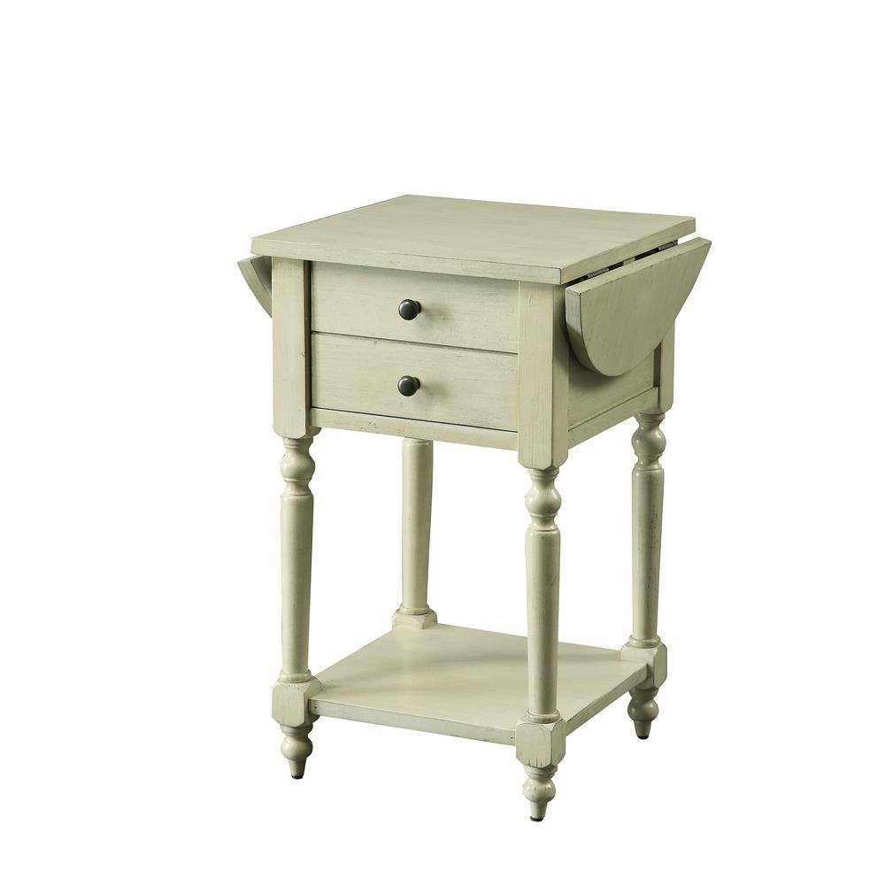 William S Home Furnishing Beadle Antique White Side Table With Open