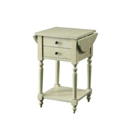 Beadle Antique White Side Table with Open Bottom Shelf, Double Drawer Front and Expandable Leaf Top