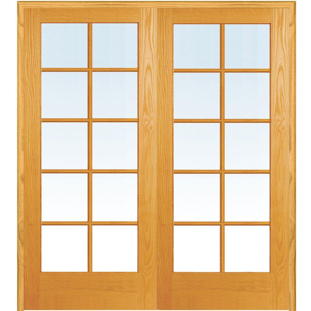 Both Active Unfinished Pine Gl 10 Lite Clear True Divided Prehung Interior French Door