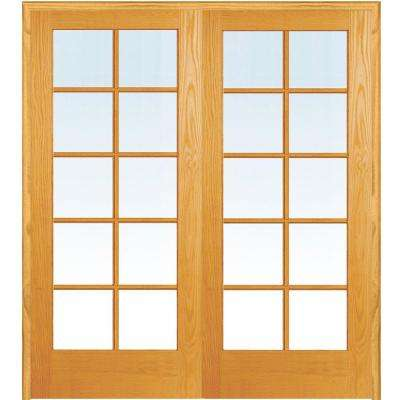 48 in. x 80 in. Both Active Unfinished Pine Glass 10-Lite Clear True Divided Prehung Interior French Door