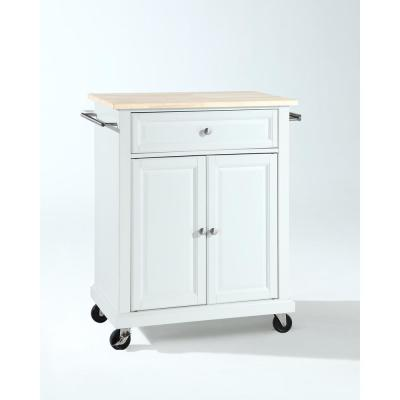 Rolling White Kitchen Cart with Natural Top