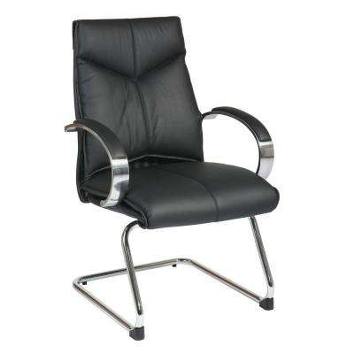 Black Leather Mid Back Visitor Office Chair