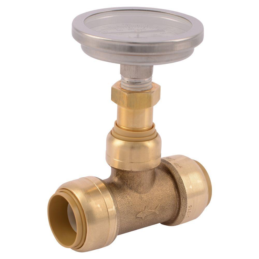 brass tee with water temperature gauge