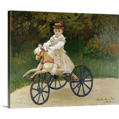 """""""Jean Monet (1867-1913) on His Hobby Horse"""" by Claude Monet Canvas Wall Art"""