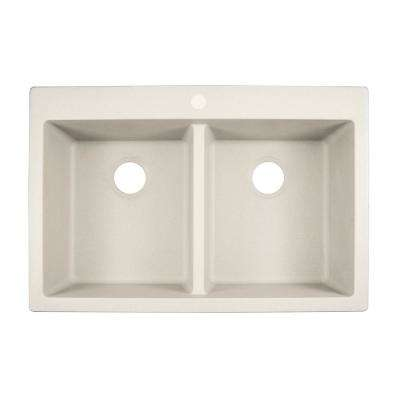 Primo Dual Mount Granite Composite 33 in. 1-Hole Double Basin Kitchen Sink in White
