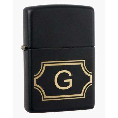 "Black Matte Lighter with Initial ""G"""