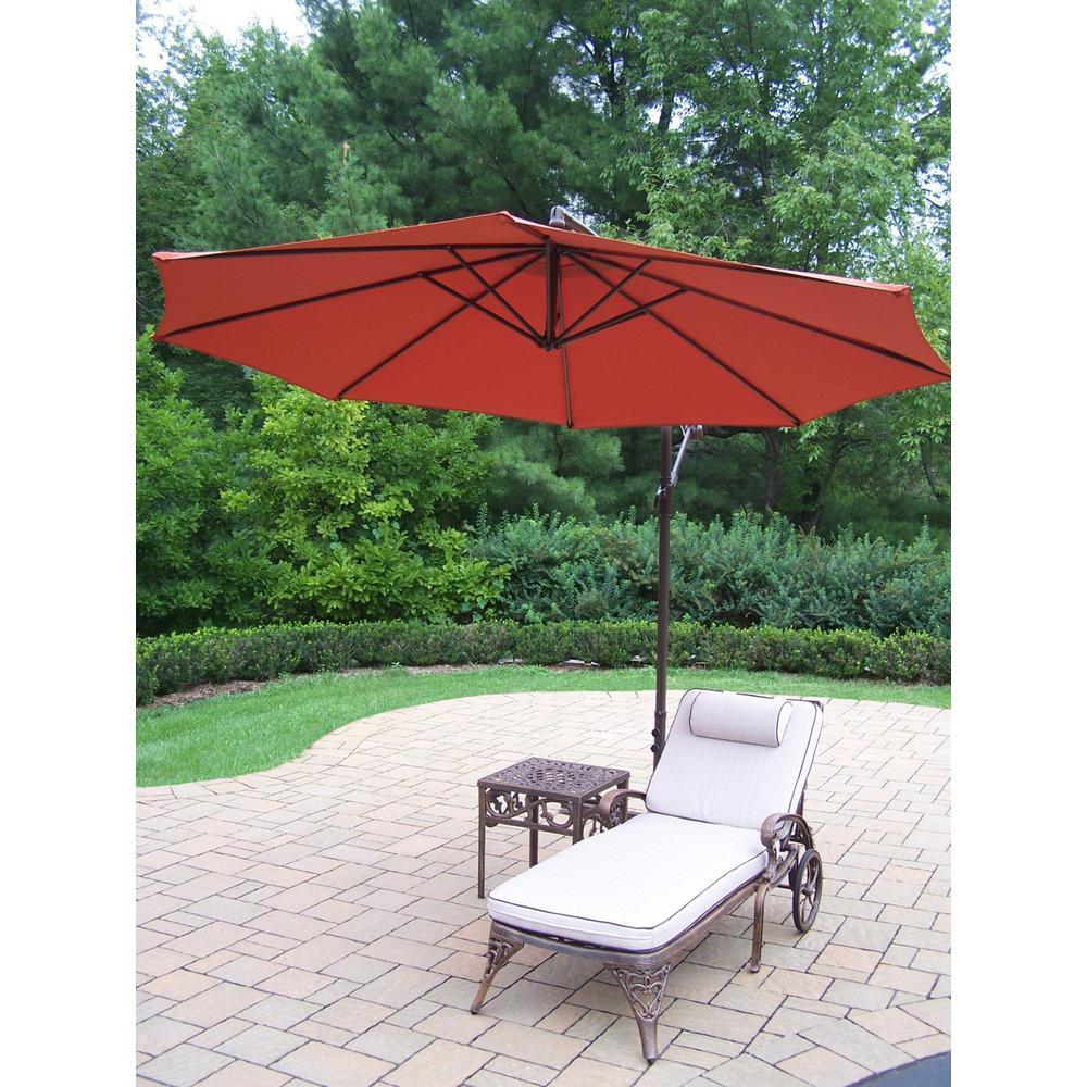 3-Piece Aluminum Patio Chaise Lounge Set with Tan Cushions and Burnt Orange Umbrella