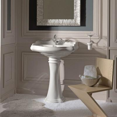 Heritage WSBC Pedestal Sink Combo in Ceramic White with 3 Faucet Holes