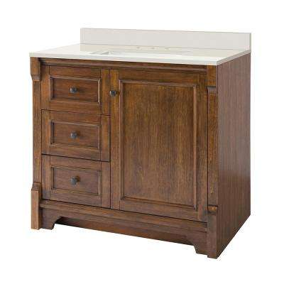 Creedmoor 37 in. W x 22 in. D Vanity in Walnut with Engineered Marble Vanity Top in Winter White with White Sink