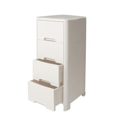 Rattan Style 4 Drawer Unit in Ivory