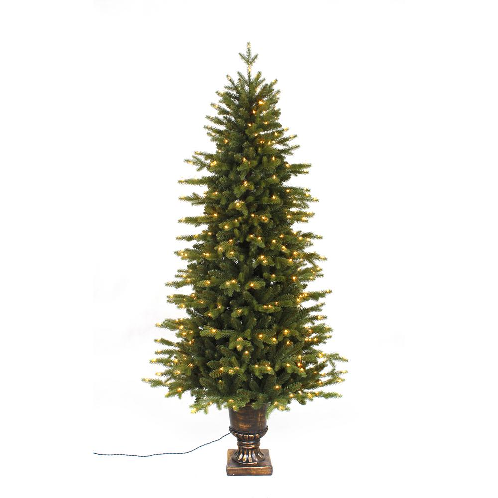 Pre-Lit LED Aspen Fir Potted Artificial Christmas Tree with 350 Warm White Lights