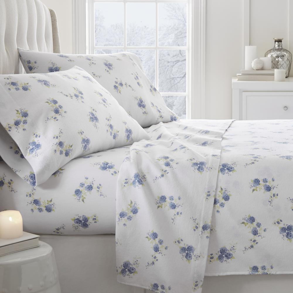 Rose Flannel Light Blue Queen 4 Piece Bed Sheet Set