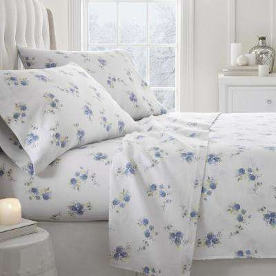 Rose Flannel Light Blue Twin 4-Piece Bed Sheet Set