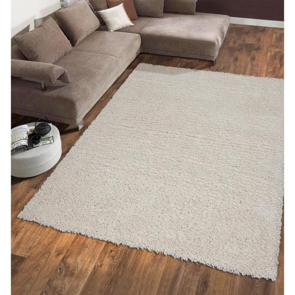 Ottomanson Contemporary Solid Beige 5 Ft X 7 Ft Shag Area Rug Shg2762 5x7 The Home Depot