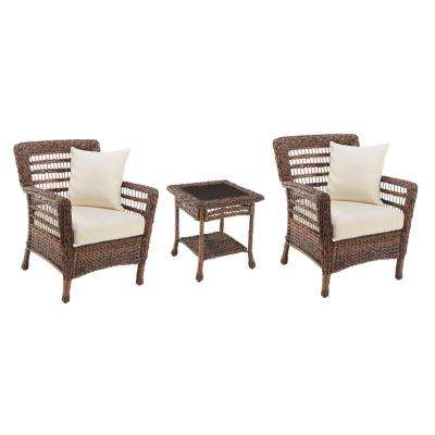 Modern Concept Faux Sea Grass 3-Piece Resin Rattan Wicker Outdoor Patio Bistro Set with Beige Cushions