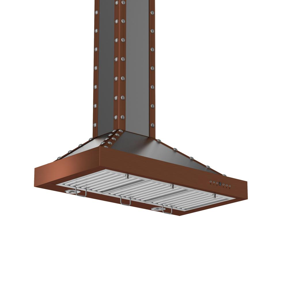 ZLINE Kitchen and Bath ZLINE 36 in. 760 CFM Wall Mount Range Hood in Stainless Steel and Copper