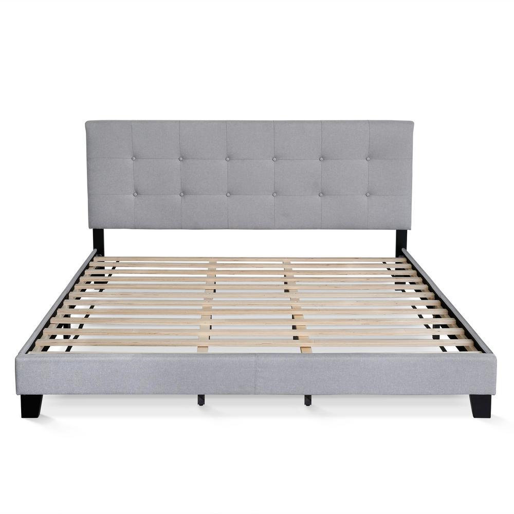 furinno laval glacier king button tufted bed frame