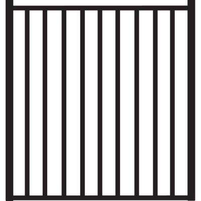 Beechmont Heavy-Duty 4 ft. x 4 ft. Black Aluminum Straight Pre-Assembled Fence Gate