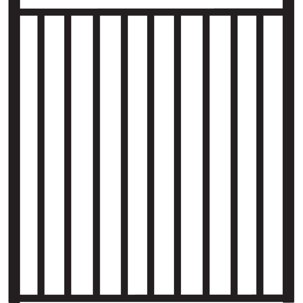Beechmont Heavy-Duty 4 ft. x 4 ft. Black Aluminum Straight Pre-Assembled Fence Gate