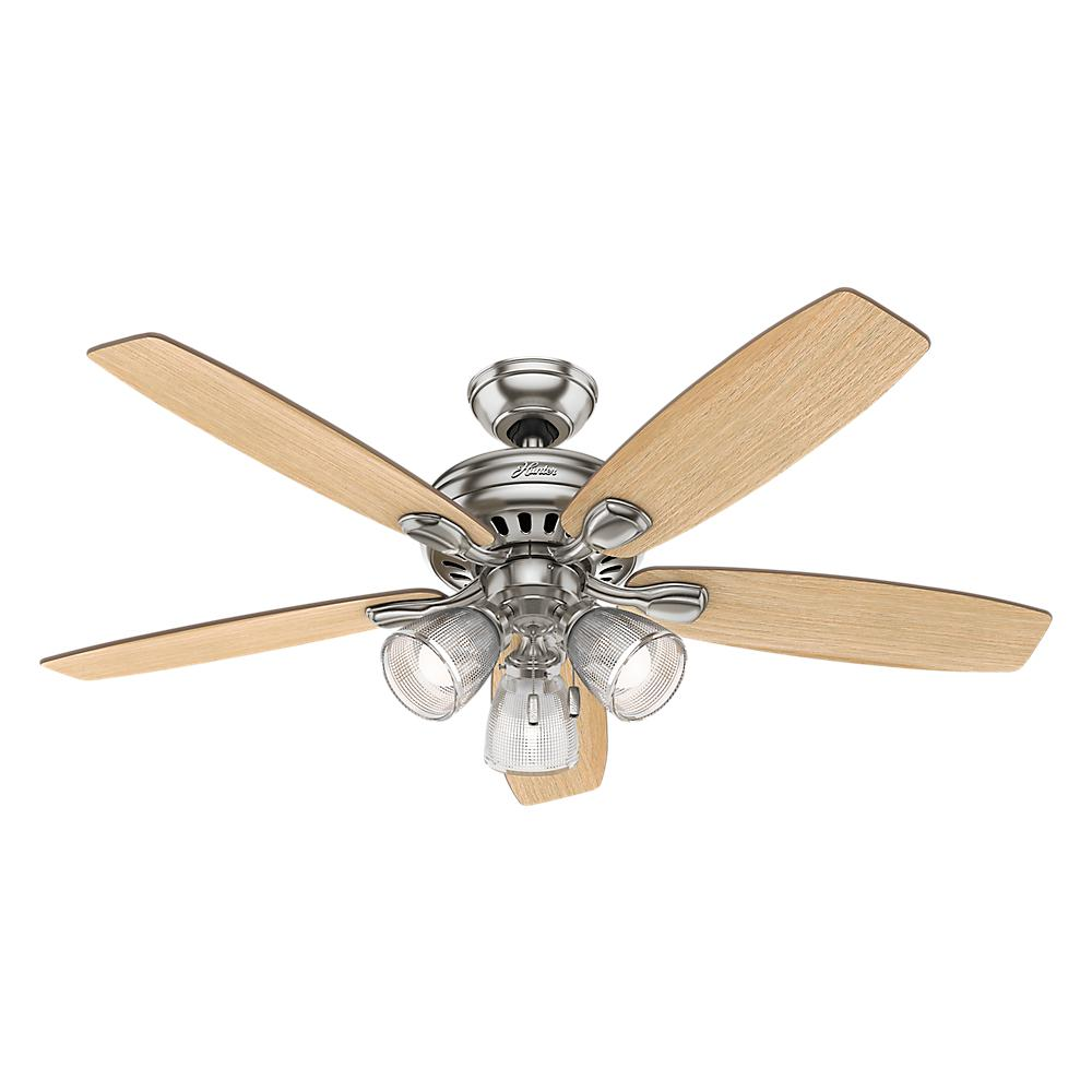 Led Indoor Brushed Nickel Ceiling Fan With