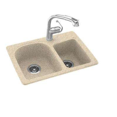 Drop-In/Undermount Solid Surface 25 in. 1-Hole 60/40 Double Bowl Kitchen Sink in Bermuda Sand