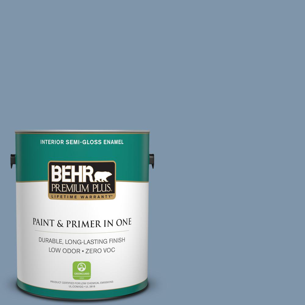 BEHR Premium Plus 1-gal. #560F-5 Bleached Denim Zero VOC Semi-Gloss Enamel Interior Paint