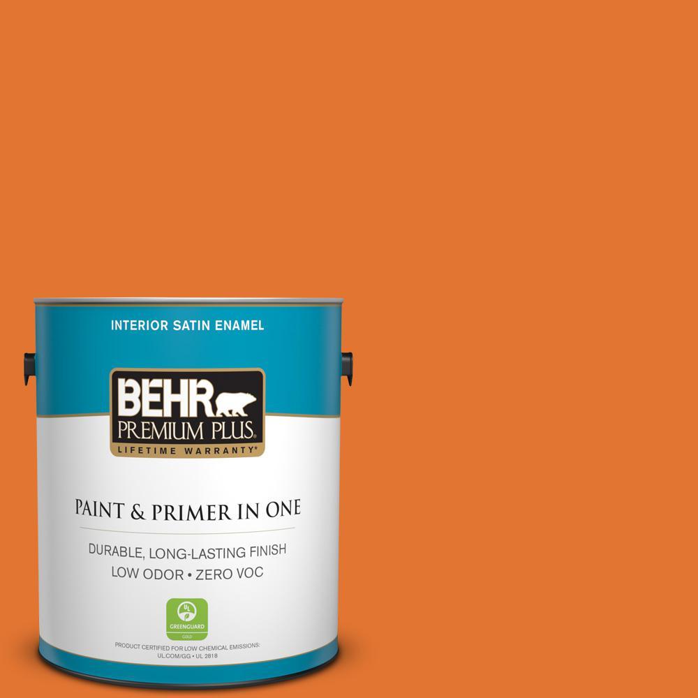 BEHR Premium Plus 1 gal. #250B-7 Crushed Orange Satin Enamel Zero VOC Interior Paint and Primer in One