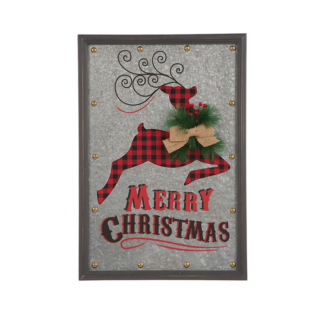 13.98 in. L Gavalized Iron Reindeer Wall Decor