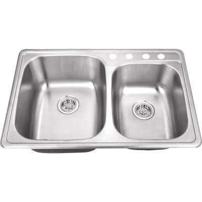 Drop-In 20-Gauge Stainless Steel 33-1/8 in. 4-Hole 60/40 Double Bowl Kitchen Sink