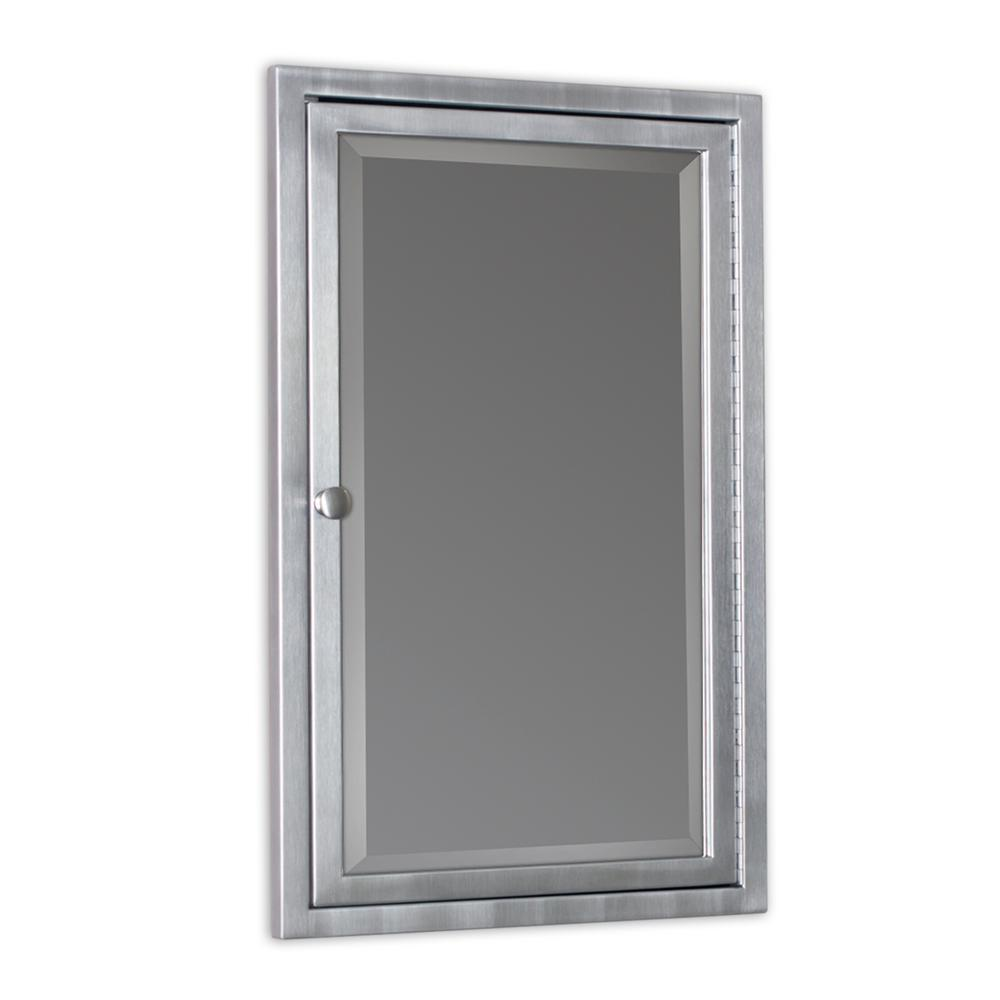 Deco Mirror 16 in. W x 26 in. H x 3-1/2 in. D Framed Single Door Stainless Steel Recessed Bathroom Medicine Cabinet