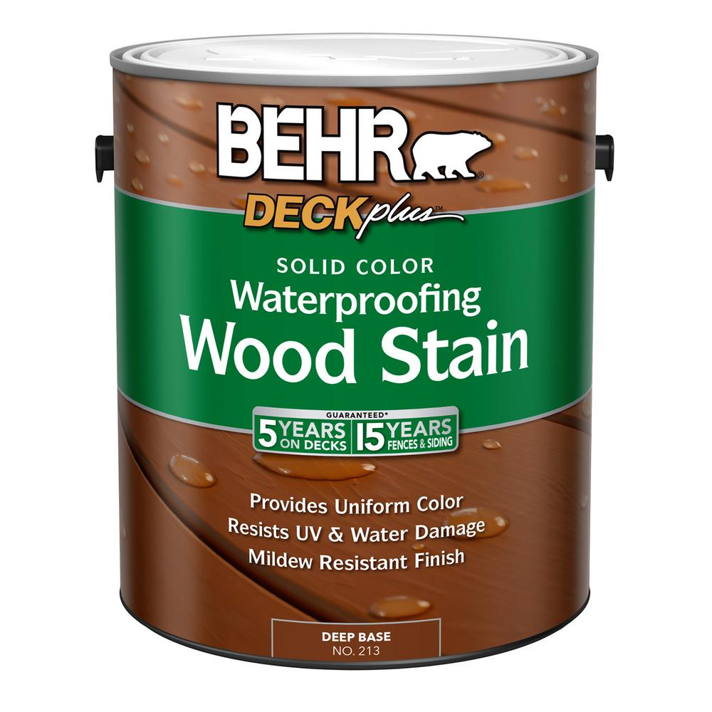 Behr deckplus 1 gal deep base solid color waterproofing exterior wood stain 21301 the home depot for Home depot exterior wood stain