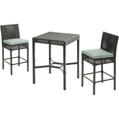 Malta 3-Piece Metal Outdoor Bar Height Dining Set with Oslo Blue Cushions