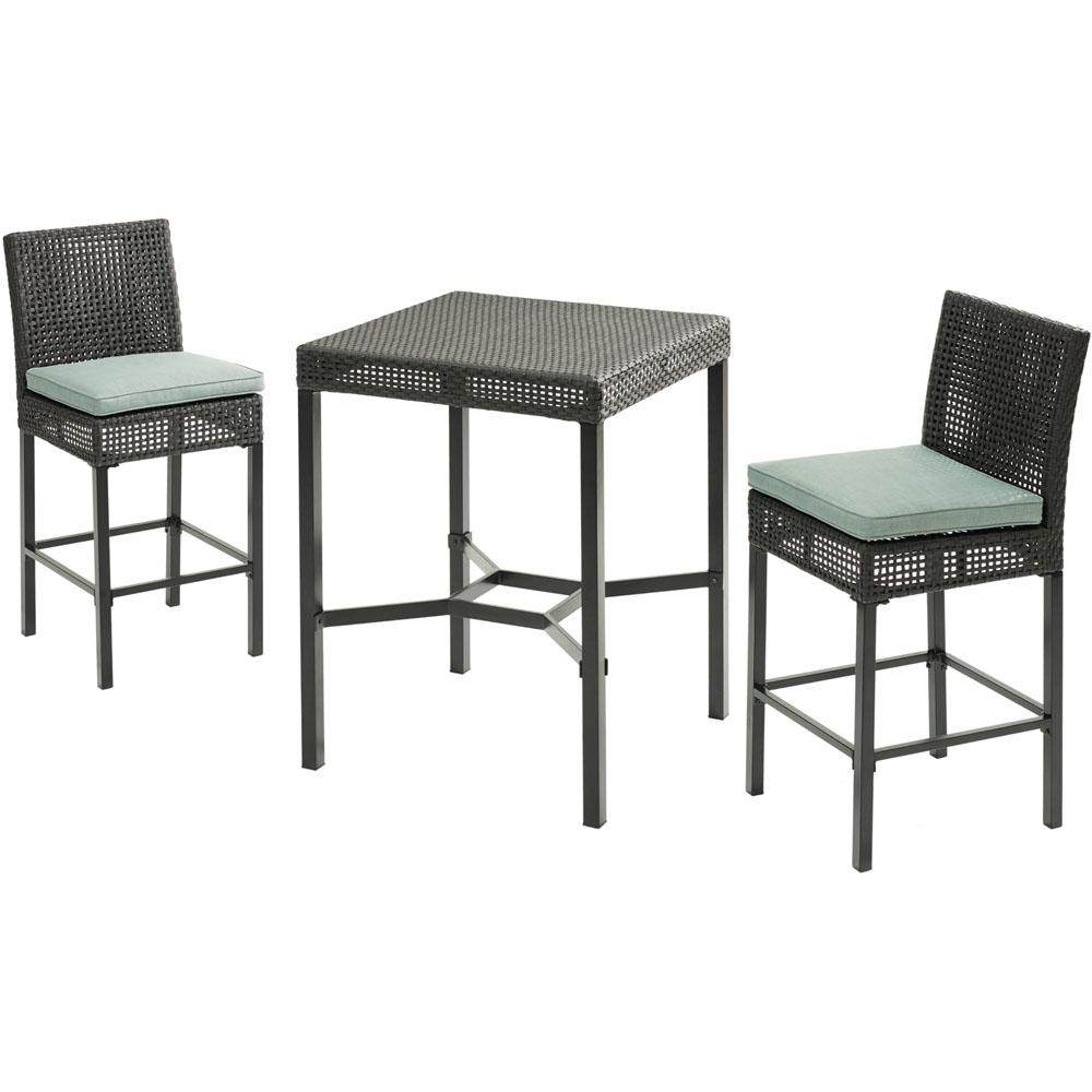 Hanover Malta 3 Piece Metal Outdoor Bar Height Dining Set With Oslo Blue Cushions
