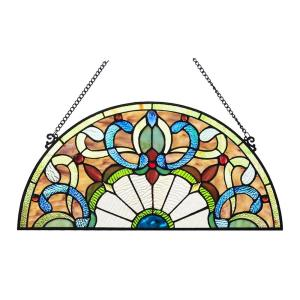 """34/""""L x 18/""""H Half Round Handcrafted stained glass window Jeweled Glass panel"""