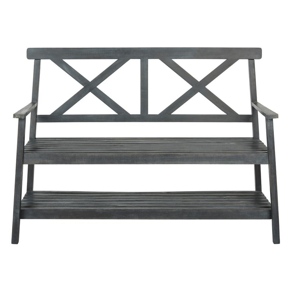Mayer 2-Person Dark Slate Grey Wood Outdoor Bench