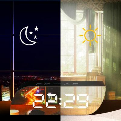 Aesthetic Black Digital Alarm Clock Mirror Surface Dimmer Night Mode Large LED Digits Display