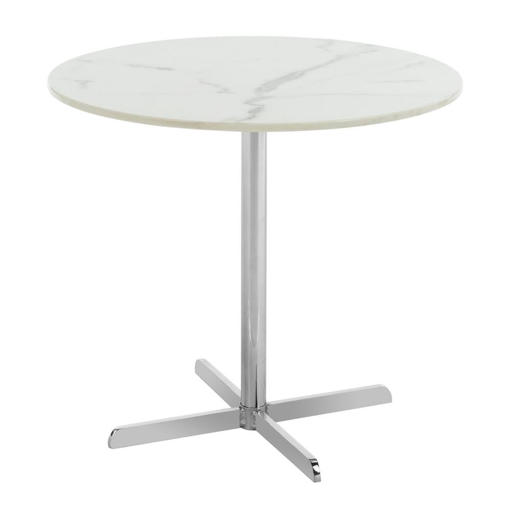 Safavieh Winnie White Marble And Chrome Side Table Acc6200b The