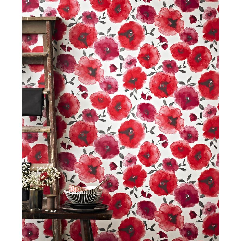 poppies red removable wallpaper - Flower Wallpaper For Home